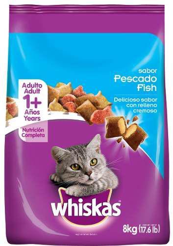 Comida Para Gatos Whiskas Adulto Pescado X 8 Kg 0