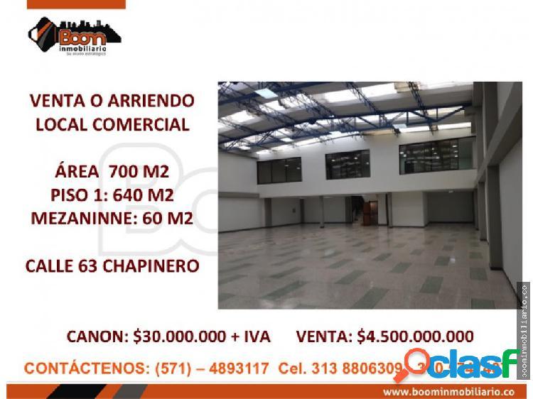 **VENTA O ARRIENDO LOCAL COMERCIAL 700M2 CHAPINERO 0