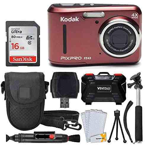Cámara Digital Kodak Pixpro Fz43 (roja) + Tarjeta De 0