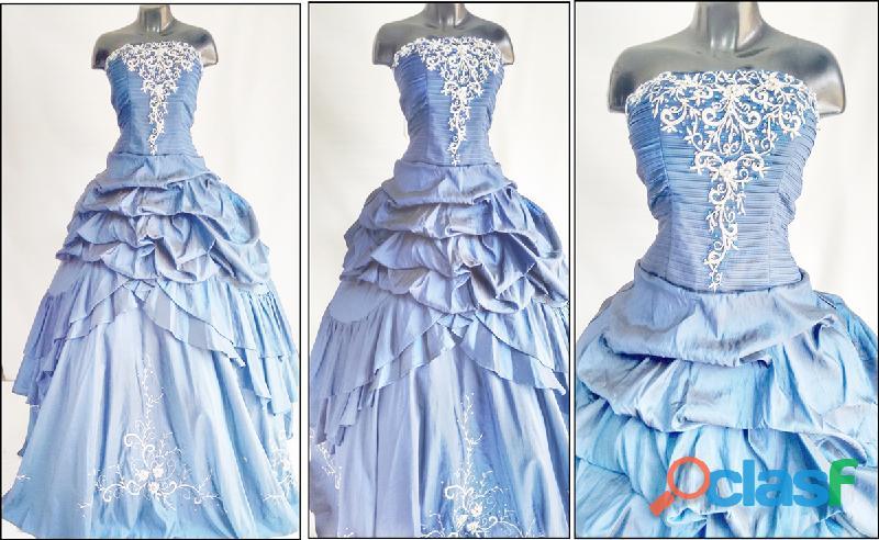 Alquiler de vestido azul noche para quince años * * 1