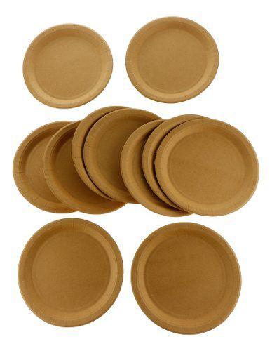 8 Piezas Platos Vajilla Cubiertos Desechable De Papel Kraft 0