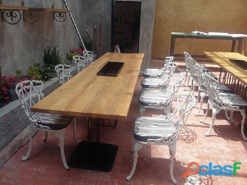 Juego de 8 puestos en fundicion de aluminio,exterior,jardin,balcon