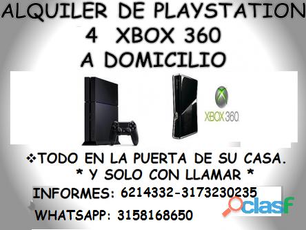 """ALQUILER DE """"PLAY STATION 4 Y XBOX 360"""" A DOMICILIO"""