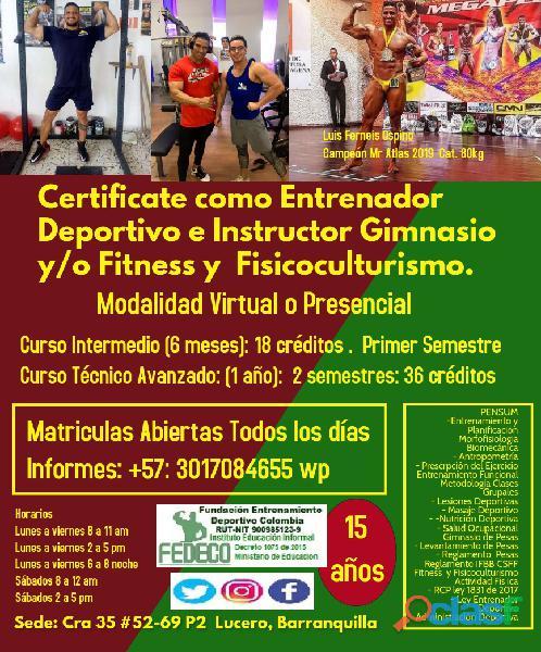 Curso entrenador deportivo e instructor gimnasio virtual o presencial