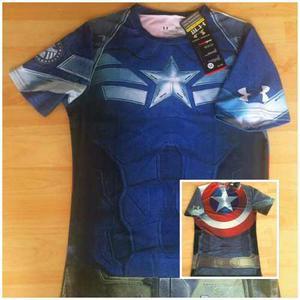 Camiseta under armour compression/gimnasio/marvel/heroes