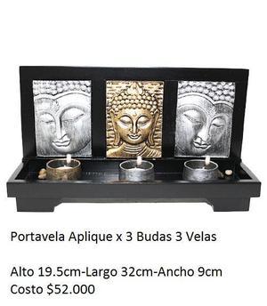 Portavela Aplique x 3 Budas 3 Velas - Yumbo