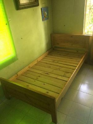 Cama madera pino. como nueva. colchón - bucaramanga