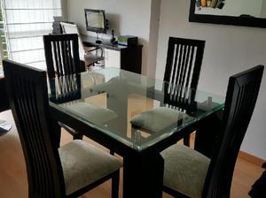 Vendo comedor 4 puestos vidrio templado madera clasf for Comedor 4 puestos vidrio