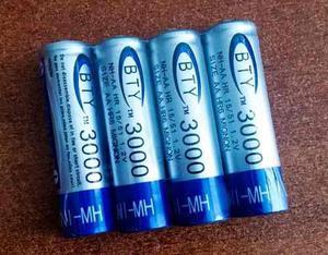 Pilas baterías aa recargables 3000 mah ni-mh nuevas x 4