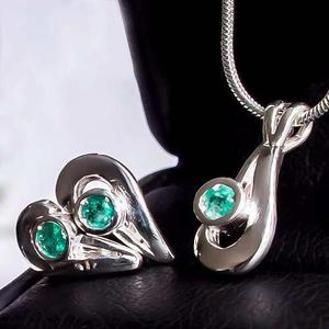 8caa8ddb6b32 Collar cadena plata dije esmeralda mujer opc oro blanco 18k