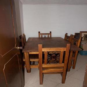 Vendo mesa de comedor barata en madera maciza de 6 puestos -