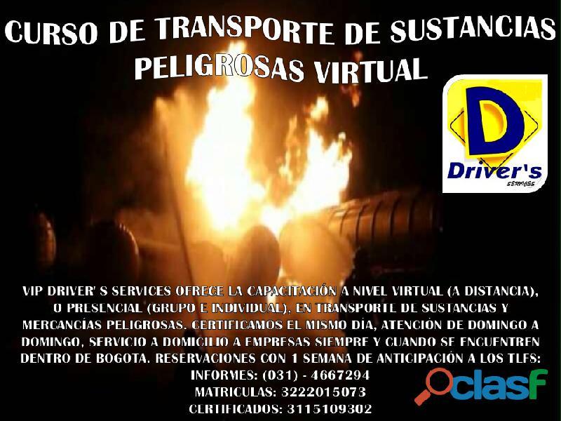CURSO TRANSPORTE DE SUSTANCIAS PELIGROSAS VIRTUAL