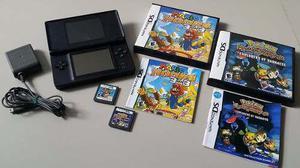 Nintendo ds lite azul + 2 juegos mario y pokemon + cargador
