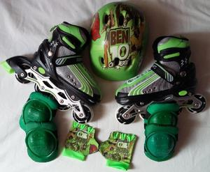 Patines zoom sports, kit completo. verdes, personajes -