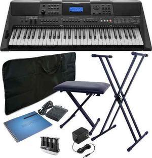 Kit teclado yamaha psr-e453 atril silla pedal ejercitador +
