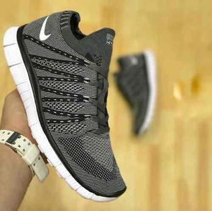 quality design c9c1b aa770 Tenis Zapatillas Nike Free Flyknit Gris Negra Hombre