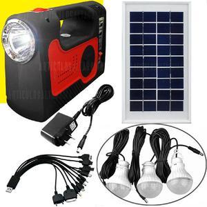 Planta Solar Portatil Con 3 Bombillos Y Accesorios -