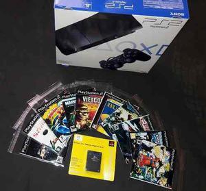 Consola ps2 + 1 control 1 memoria + 5 juegos
