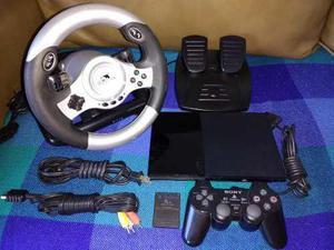 Playstation 2 slim + volante + 13 juegos + 1 control + 8mb