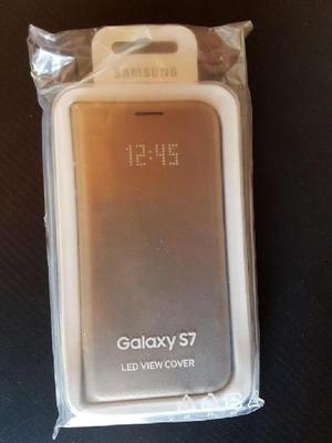 Galaxy s7 led view cover color dorado estuche nuevo -