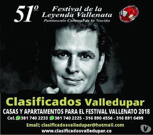 Casas y Apartamentos para el Festival Vallenato 2018
