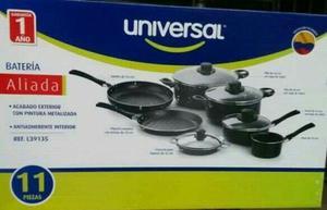 Juego de ollas universal 11 piezas aluminio antiadherente