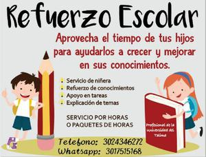 Refuerzo escolar y servicio de niñera - ibagué