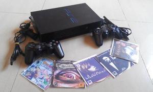 Playstation 2 ps2, + 2 controles + 5 juegos + cables