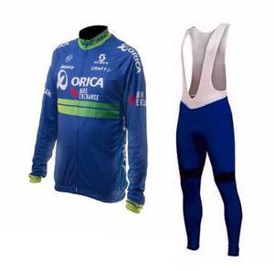 Uniforme ciclista ruta gel manga larga + guantes medias s m