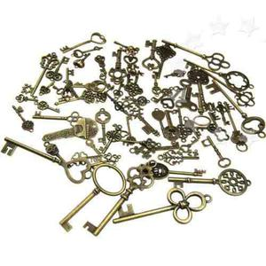 70pcs antiguo vintage bronce antiguo moda llaves colgantes