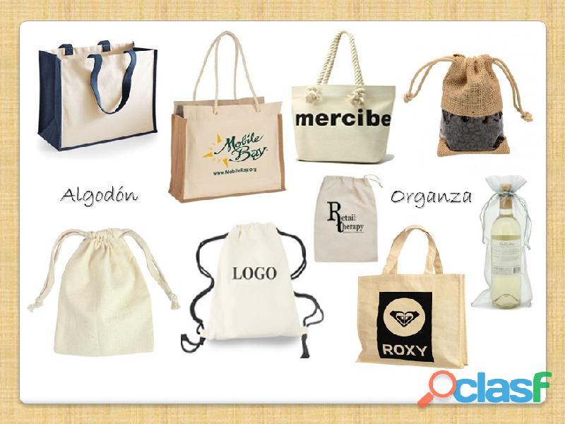 Bolsas en tela ecológica, yute, algodón, lonas, con logo corporativo y diferentes diseños .