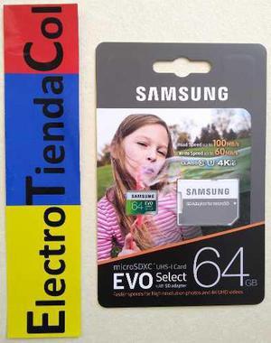 Memoria micro sd 64gb samsung clase 10 u3 original 4k nueva
