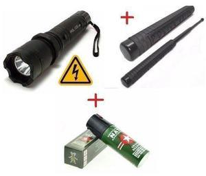 Combo Kit Defensa Taser Linterna + Tambo + Gas + Carnet