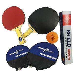Raquetas ping pong sportfitness tennis + 6 pelotas shield