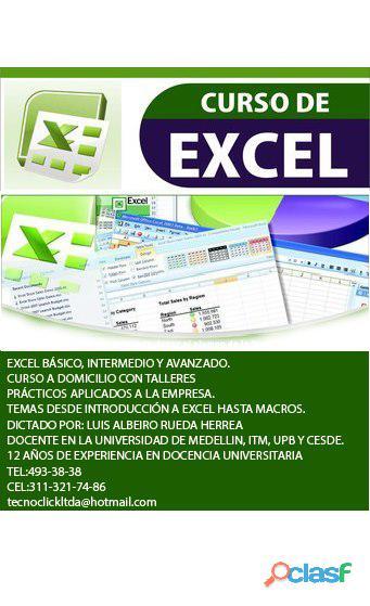 Clases de excel básico, intermedio y avanzado
