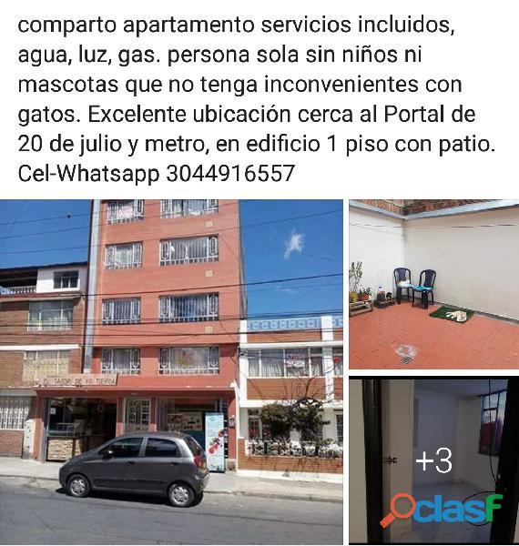 Comparto apartamento b. la serafina incluye servicios agua, luz, gas