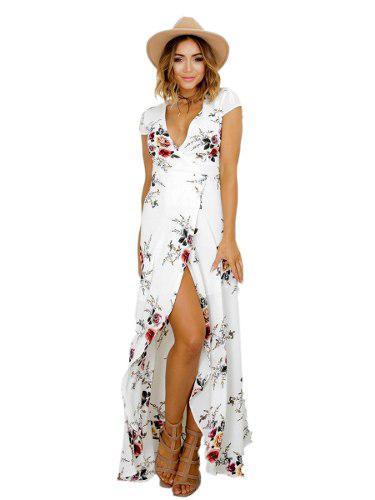 ef9acc5415c Vestido largo de fiesta blanco con flores vestido elegante