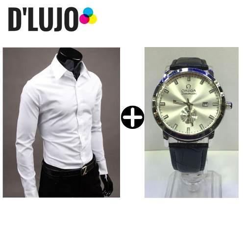 88ad33eee243c Camisa hombre manga larga slim elegante + reloj omega cuero