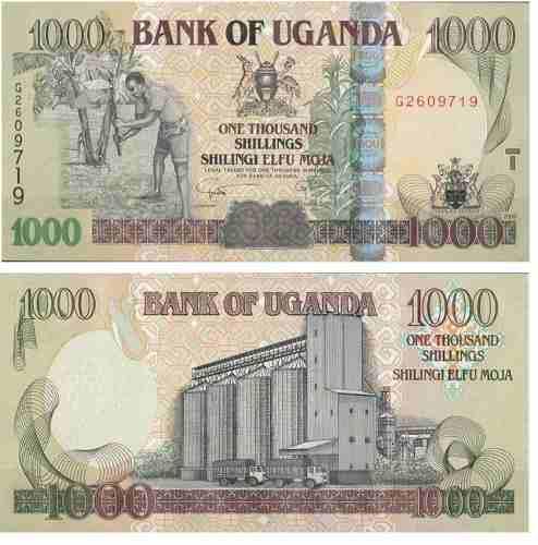Billete Uganda 1000 Chelines 2009 Papel Moneda Unc