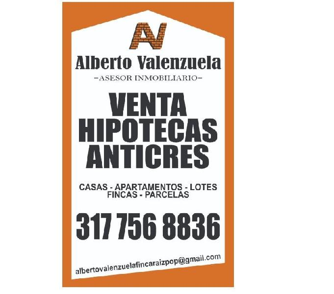 VENTA DE CASAS, LOTES, FINCAS, HIPOTECAS, AVALÚOS