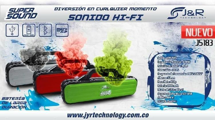 Parlante jr portable inalambrico hi fi super sound j5183