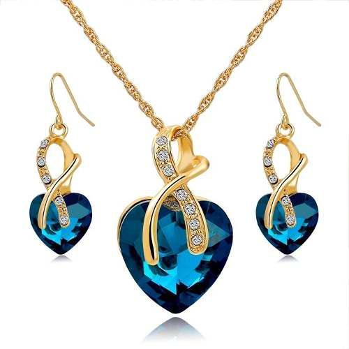 2ead735bed72 Set collar + aretes mujer chapado en oro cristal austriaco