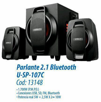 Parlante 2.1 1.700w unitec fm usb bluetooth