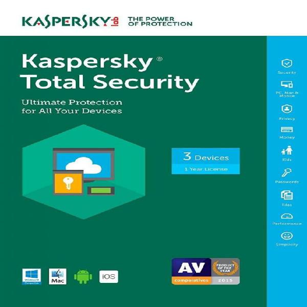 Antivirus kaspersky total security 1 disp 3 años renovacion
