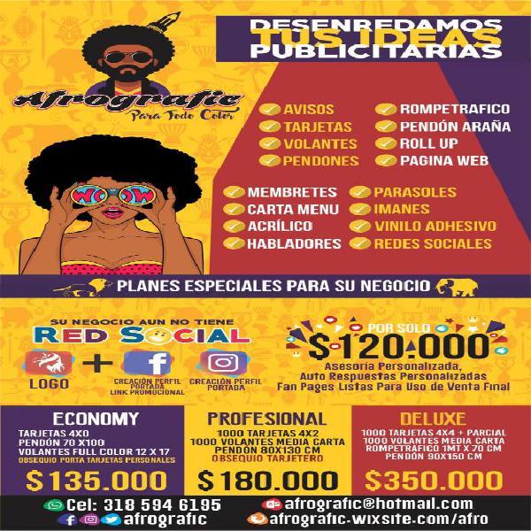 Promociones de publicidad para tu negocio afrografic en Cali ... 1c9dbd57f5adb