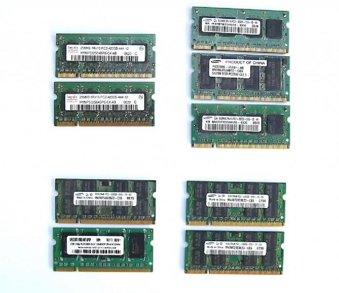 Memorias portátil samsung, hynix pc2 5300 1g 2g 512 256