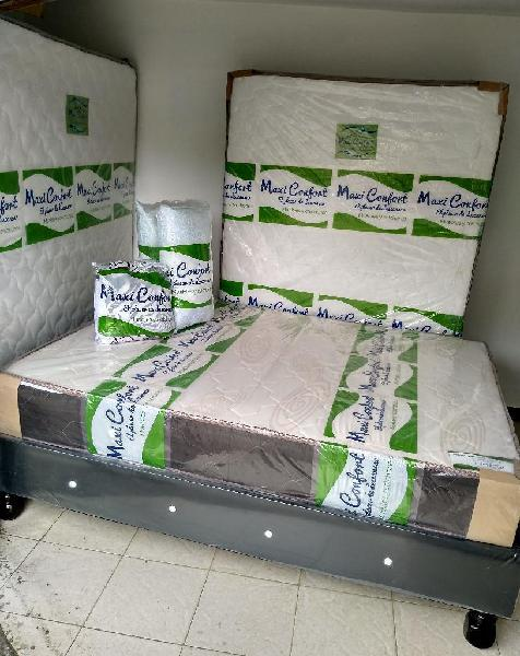 Colchon resortado, cama base, obsequios