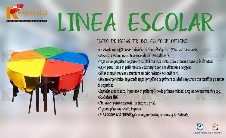 Sillas y mesas para colegios, jardines, universidades, entre