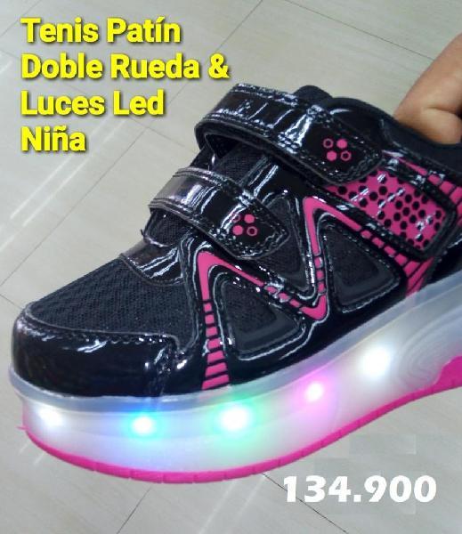 Tenis patin doble rueda con luces led niña