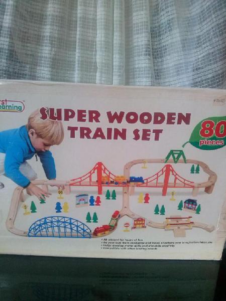 Pista De Tren Para Armar Super Wooden Train Set